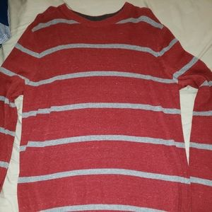 Red and gray striped long sleeve